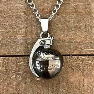3D Black Grenade Pendant Necklace